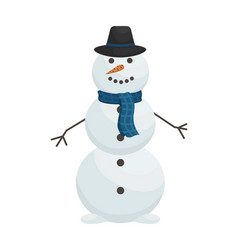 cute snowman in hat and scarf winter vector image