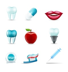 Dental icons realistic vector