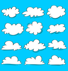 doodle set hand drawn clouds vector image