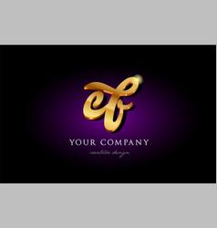 Ef e f 3d gold golden alphabet letter metal logo vector
