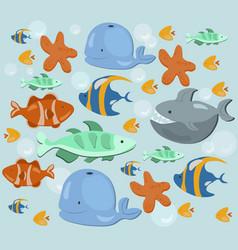Fish ocean summer pattern blue color vector