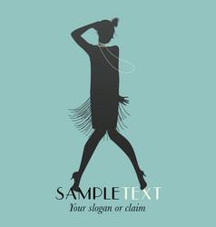 Flapper girl silhouette dancing charleston-01 vector