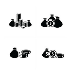 flat desifn money bag and coins set vector image