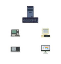 flat icon computer set of technology display vector image