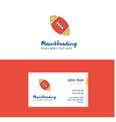 flat rugby ball logo and visiting card template vector image