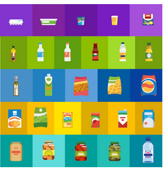 food products and drinks flat icons set vector image