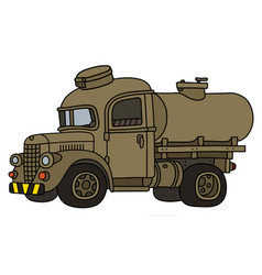 Funy old sand military tank truck vector