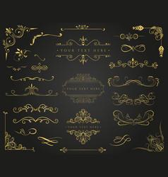 golden frames and borders set vector image
