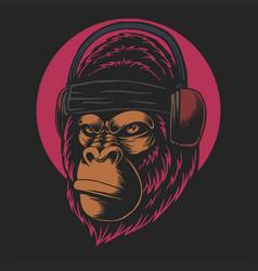 gorilla headphones vector image
