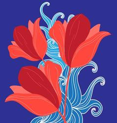 Graphic bouquet of red tulips on a blue vector