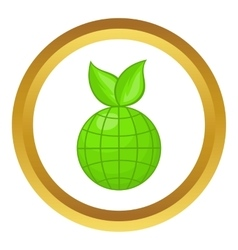 Green planet icon vector
