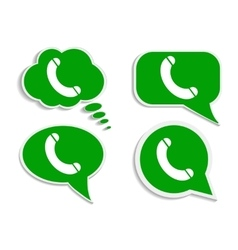 Green think bubble phone icon vector