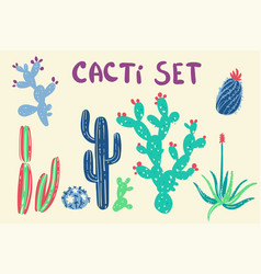 hand drawn cactus and succulent plants vector image