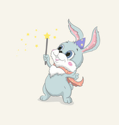 hand drawn cute rabbit little happy bunny vector image
