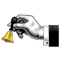 Hand ringing retro bell vector