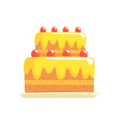 happy birthday party cake with cherries sweet vector image vector image