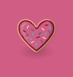 Heart shape cookie with decoration valentine day vector