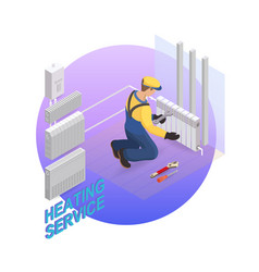 Home repair isometric template heating service vector