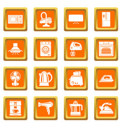 house appliance icons set orange square vector image