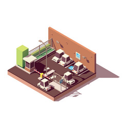 Isometric secure car parking vector