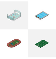 isometric sport set of american football ice vector image