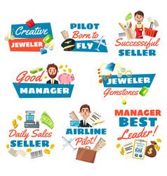 Jeweler seller pilot and businessman vector