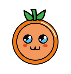 kawaii cute thinking orange fruit vector image