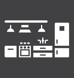 kitchen furniture solid icon and interior vector image vector image
