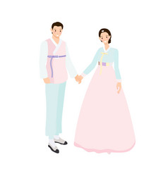 korean couple in traditional dress for wedding or vector image