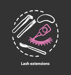 Lash extension chalk concept icon false eyelashes vector