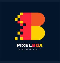 Letter b pixel technology creative logo symbol vector