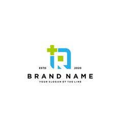 Letter r cross plus hospital medical logo design vector