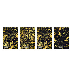 liquid marble texture in gold vertical banners vector image