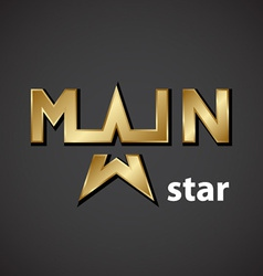 main golden star inscription icon vector image