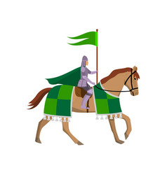 medieval knight with green flag in steel armor at vector image