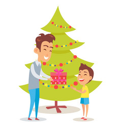 Merry christmas poster with father and daughter vector