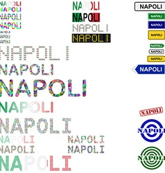 Napoli text design set vector
