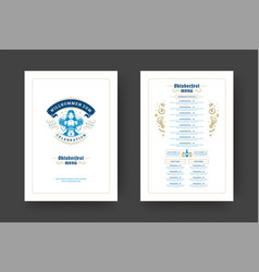 Oktoberfest menu vintage typography template with vector