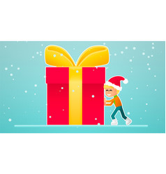 one little boy move new year gift vector image
