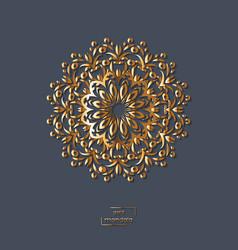ornamental gold flower oriental mandala on blue vector image