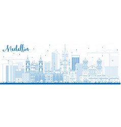 Outline medellin skyline with blue buildings vector
