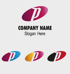 P letter logo template with elip symbol vector