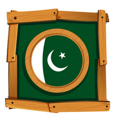 Pakistan flag on round frame vector