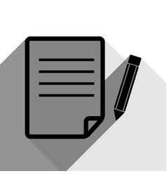 Paper and pencil sign black icon with two vector