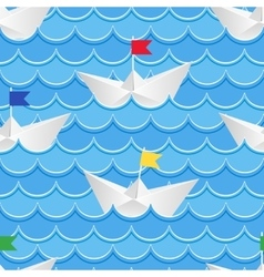 Paper boats sailing on blue paper water vector
