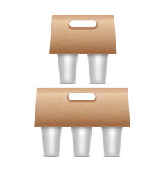 realistic 3d detailed coffee cups holder set vector image