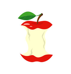 Red apple stub isolated on vector