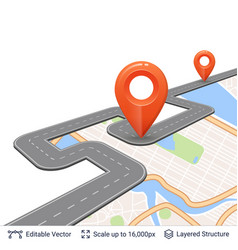 road with location pins vector image