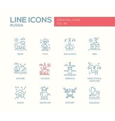 Russian symbols - flat design line icons set vector