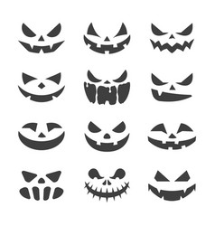 scary pumpkins face black on white background vector image